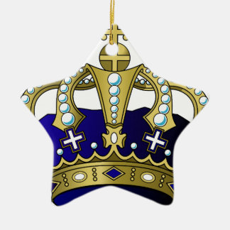 Blue & Gold Royal Crown Ceramic Star Ornament