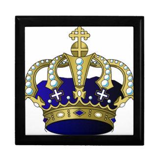 Blue & Gold Royal Crown Jewelry Box