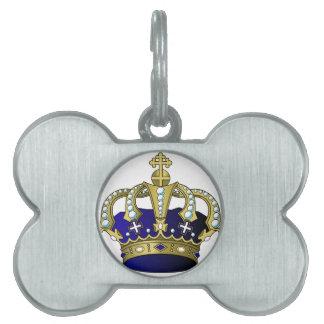 Blue & Gold Royal Crown Pet ID Tag