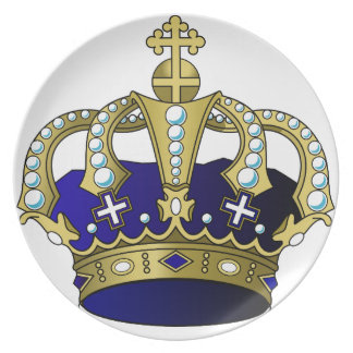Blue & Gold Royal Crown Plate