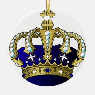 Blue & Gold Royal Crown Round Ceramic Ornament
