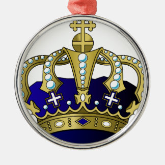 Blue & Gold Royal Crown Silver-Colored Round Ornament