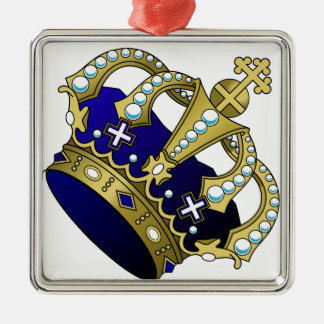 Blue & Gold Royal Crown Silver-Colored Square Ornament