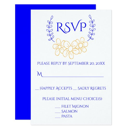 Blue & Gold RSVP Wedding / Party Flower Wreath Card