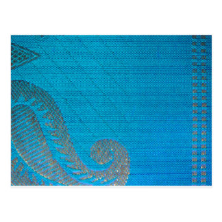Blue & Gold Silk Paisley Cloth Postcard