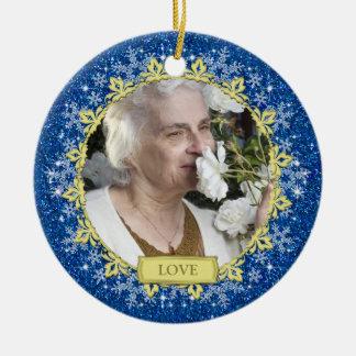 Blue Gold Snowflakes Memorial Photo Christmas Ceramic Ornament