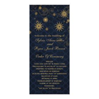 blue gold Snowflakes wedding programs tea length Rack Card Design