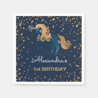 Blue & Gold Sparkle Confetti Unicorn 1st Birthday Napkin