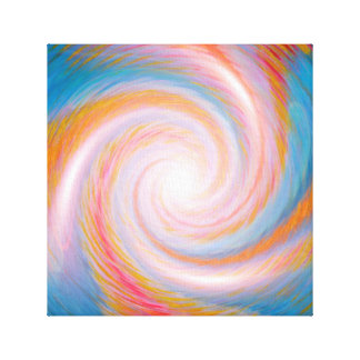Blue, gold spiral vortex canvas print
