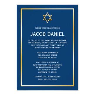 Blue Gold Star of David Bar Mitzvah Invitations