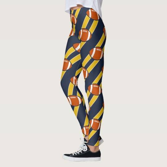Blue Gold Stripe Football Pattern Leggings