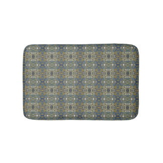 blue gold striped bath mat