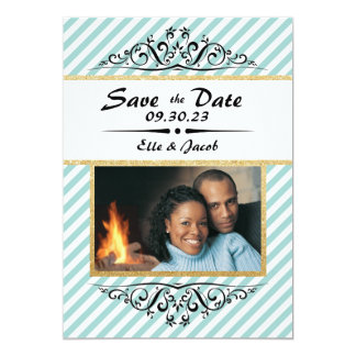 Blue/Gold Striped Save the Date Flat Photo Card