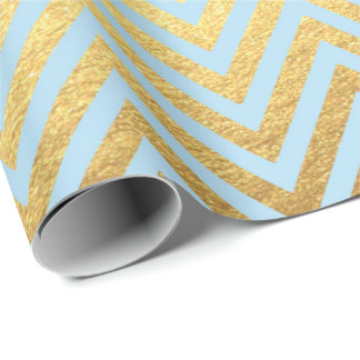 Blue Gold Stripes  Lines Zig Zag Chevron Pastel Wrapping Paper
