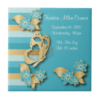 Blue & Gold Stripes with Butterflies for Baby Ceramic Tile