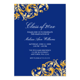 Blue Gold Swirl Graduation Party Announcement