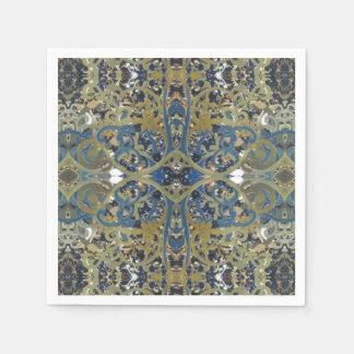 blue gold swirls cross napkin disposable napkins