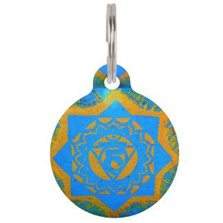 blue gold tantric symbol pet tag