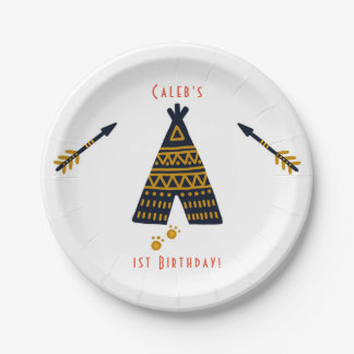 Blue & Gold Tepee Boho Any Age Birthday Party Paper Plate