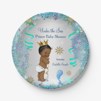 Blue Gold Under The Sea Prince Baby Shower Ethnic 7 Inch Paper Plate