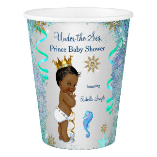 Blue Gold Under The Sea Prince Baby Shower Ethnic Paper Cup