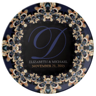 Blue Gold : Vintage Gems Wedding Anniversary Gift Plate