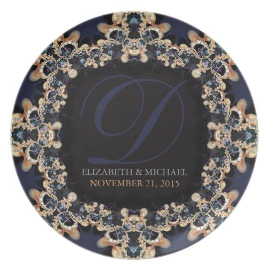 Blue Gold : Vintage Gems Wedding Gift Plate