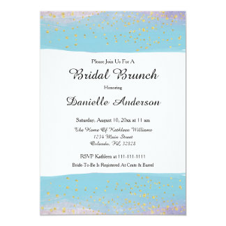 Blue & Gold Watercolor Bridal Shower Invitation
