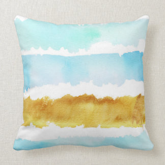 Blue & Gold Watercolor Striped Throw Pillow