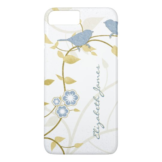 Blue Gold White Birds Floral Personalized iPhone 6 iPhone 7 Plus Case