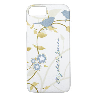Blue Gold White Birds Floral Personalized iPhone 8/7 Case