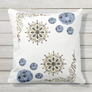 blue gold white pillow