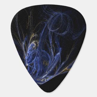 Blue, Gold, White Swirls on Black Background Guitar Pick