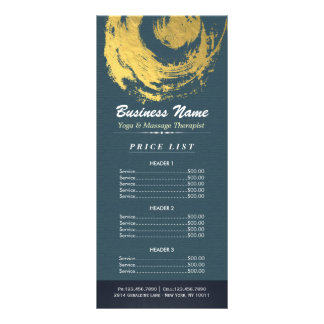 Blue Gold Yoga Massage Therapy ZEN Sign Price List Rack Card
