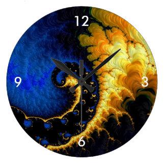 Blue Golden Yellow Fractal Large Clock