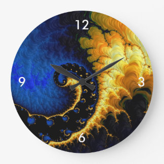 Blue Golden Yellow Fractal Wall Clocks