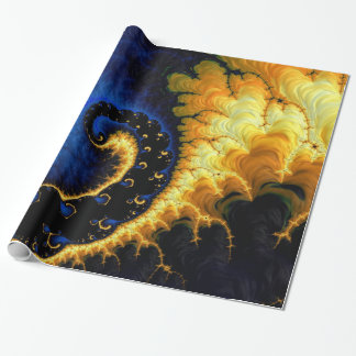 Blue Golden Yellow Fractal Wrapping Paper