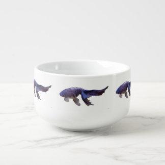 blue goldfish soup mug
