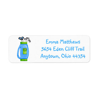 Blue Golf Bag Return Address Labels