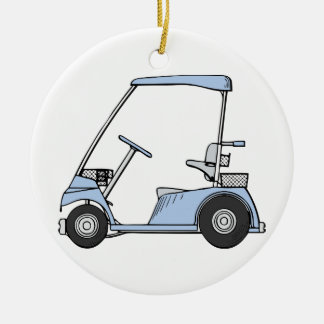 Blue Golf Cart Round Ceramic Ornament