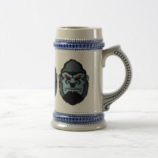 blue gorilla head beer stein