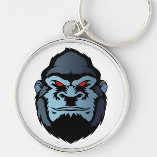 blue gorilla head Silver-Colored round keychain