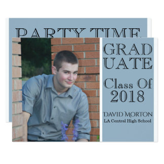 Blue GRAD Class of 2018 Photo Invitation