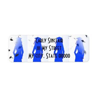 Blue Grad Girl Silhouettes Return Address Label