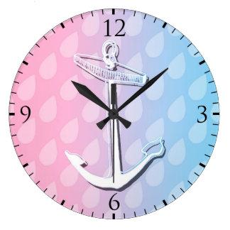 Blue Gradient Anchor Illustration Wall Clock
