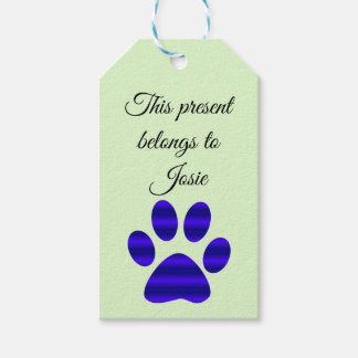 Blue Gradient Animal Paw Gift Tags
