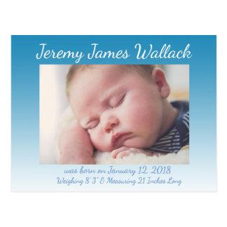 Blue Gradient Baby Boy Birthday Announcements Postcard