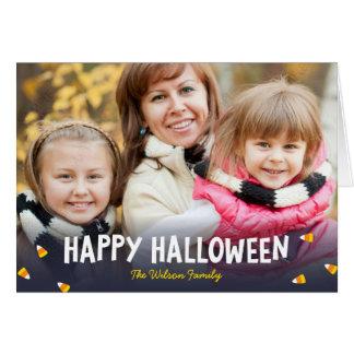 Blue Gradient Candy Corn Happy Halloween Photo Card