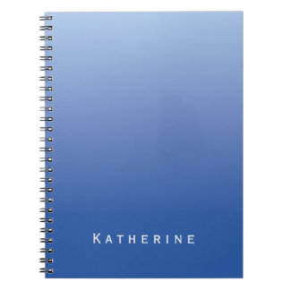 Blue Gradient Ombre Custom Name Notebooks