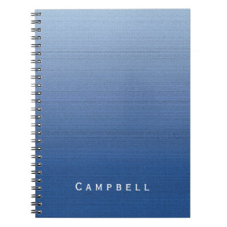 Blue Gradient Ombre Medium Texture Custom Name Spiral Notebook